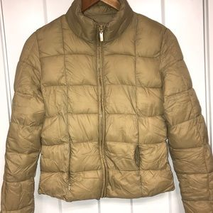Jackets & Blazers - Tan puffer jacket NEVER WORN